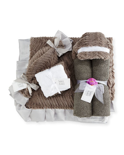 Ziggy Hooded Towel, Receiving Blanket, Security Blanket & Burp Cloth Set, Slate