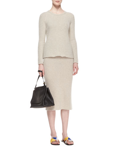 Ribbed Cashmere Sweater & Skirt