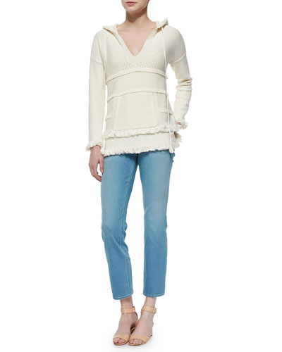 Hooded Baja Cotton Tunic & Cropped Straight-Leg Jeans