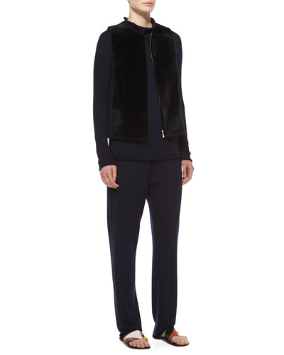 Sheared Mink Fur Patchwork Vest, Long-Sleeve Fitted Cashmere/Silk Sweater & Drawstring Cashmere-Silk Sweatpants, Navy