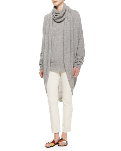 Draped-Front Cozy Cashmere-Silk Cardigan, Slouchy Turtleneck & Norland Skinny Corduroy Pants