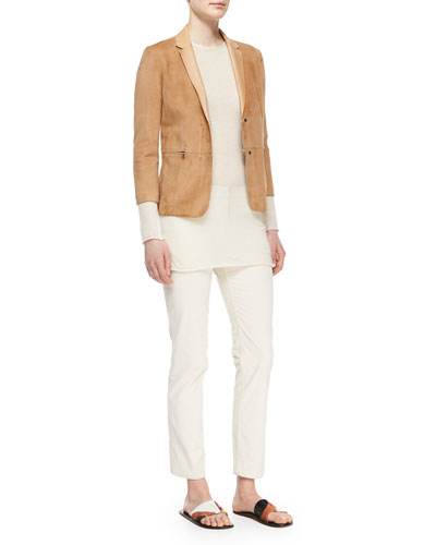 3/4-Sleeve Suede Jacket, Long-Sleeve Cashmere Tissue Top & Norland Skinny Corduroy Pants