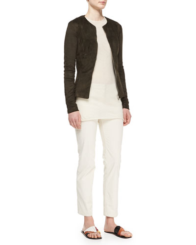 Long-Sleeve Suede Peplum Jacket, Cashmere Tissue Top & Norland Skinny Corduroy Pants