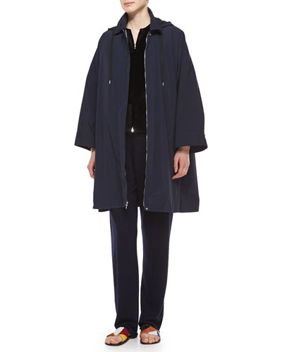 Water-Repellant Hooded Raincoat, Sheared Mink Fur Patchwork Vest & Drawstring Waist Cashmere-Silk Sweatpants
