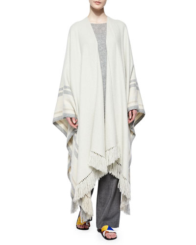 Cashmere-Blend Striped Fringe Poncho, Long-Sleeve Ribbed Cashmere/Silk Sweater & Pleated-Front Wide-Leg Birdseye Pants