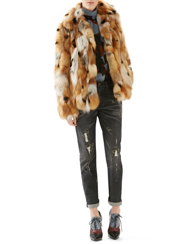 Patchwork Fox Fur Jacket, Leaves Print Silk Shirt & Stone Washed Stretch Denim Pant