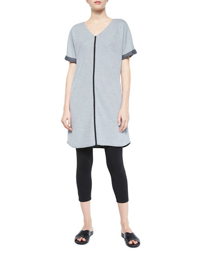 Short-Sleeve Long Tunic & Jersey Ankle Leggings, Petite