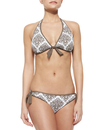 Bow-Front Reversible Floral-Print Halter Swim Top & Tie-Side Swim Bottom