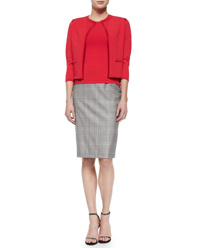 Short-Sleeve Fitted Top, Knit-Trimmed Open Cardigan & Plaid Business Skirt with Red Insets