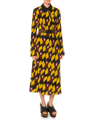 Abstract-Print Crepe Shirtdress & Two-Tone Leather-Front Elastic Belt
