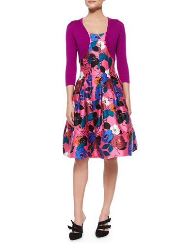 3/4-Sleeve Cashmere/Silk Bolero & Floral-Print A-Line Dress