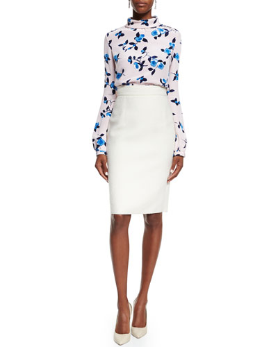 Scattered Pansies Long-Sleeve Blouse & Double-Faced Pencil Skirt
