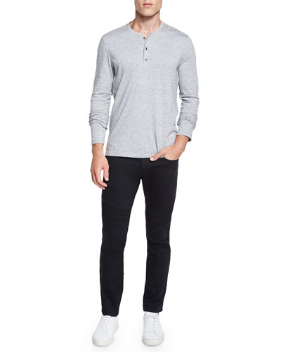 Long-Sleeve Henley Shirt, Stretch Resin-Coated Moto Jeans & Ribbed Cashmere Beanie