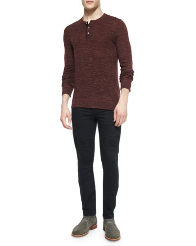Wool-Blend Long-Sleeve Henley Tee & Stretch Resin-Coated Moto Jeans