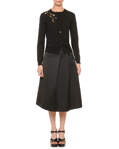 Knit Cardigan w/Scattered Embroidery & No-Waist Soft-Pleat Satin Skirt