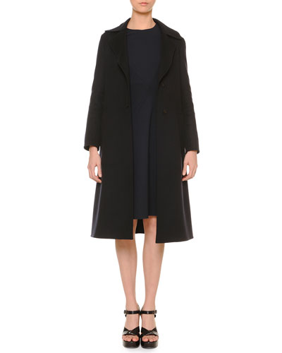 Double-Faced Cashmere A-Line Coat & Long-Sleeve Paneled Swing Dress