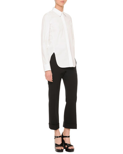Side-Slit Button Blouse & Cropped Cuffed Pants