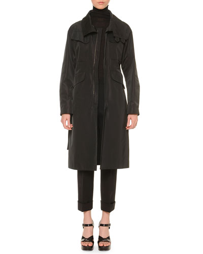 Funnel-Neck Belted Trenchcoat & Cropped Cuffed Pants