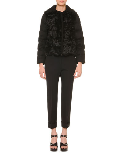 Shearling Fur-Trimmed Cashmere Puffer Jacket & Cropped Cuffed Pants