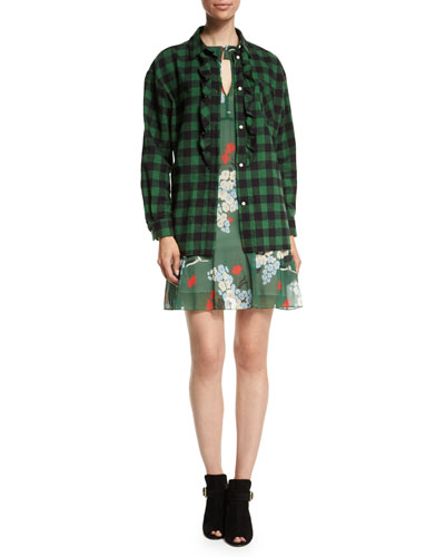 Plaid Oversized Ruffed-Front Blouse & Long-Sleeve Bouquet-Print Dress