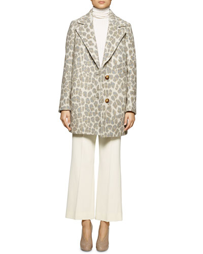 Leopard-Print Double-Button Coat, Long-Sleeve Ribbed Turtleneck Sweater & Flared Gabardine Ankle Pants