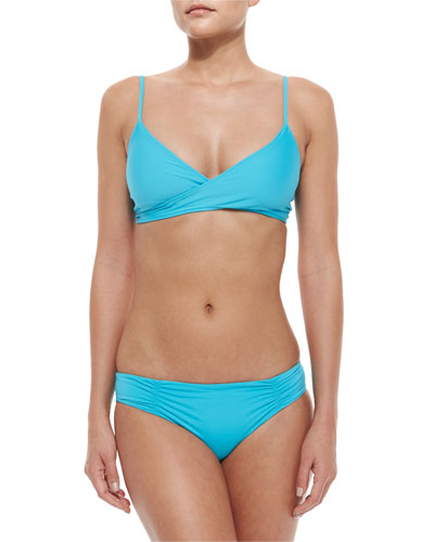 Chloe Wrap-Around Swim Top & Bottom, Turquoise