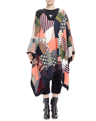 Patchwork V-Neck Poncho, Georgette Button-Front Blouse & Wide-Corduroy Cropped Pants