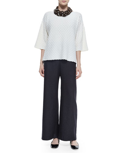 Woven Textured Cashmere Top, Silk-Cashmere Wide-Leg Pants & Multi-Strand Beaded Choker Necklace