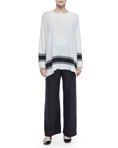 Ribbon-Striped Cashmere A-Line Sweater & Silk-Cashmere Wide-Leg Pants
