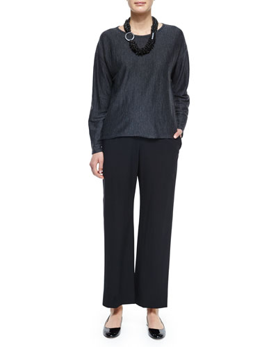 Long-Sleeve Cashmere Sweater, Wool Stretch Trousers & Multi-Strand Mixed Beaded Necklace