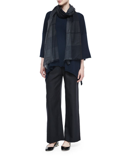 Raised-Hem Cashmere Handkerchief Top, Pull-On Flannel Trousers & Cashmere Tartan Check Fringe Scarf
