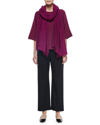 Sideways Knit Square Top, Wool Stretch Trousers & Large Cashmere Fringe Scarf