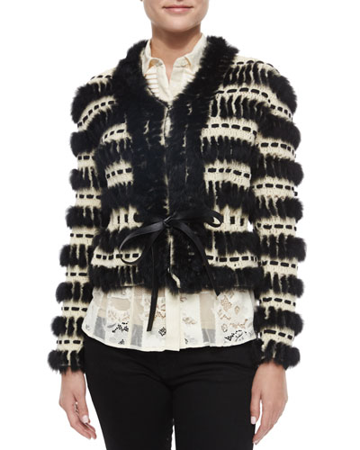 Crochet & Fur Cropped Jacket & Sheer Lace Button-Down Blouse