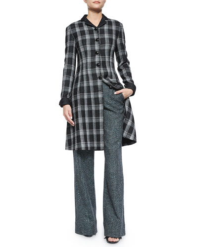 Woven Plaid Flared Shirtdress & Speckled Tweed Wide-Leg Pants