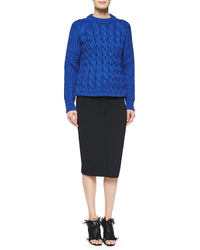 Chunky Cable-Knit Sweater & Seamed Knit Pencil Skirt