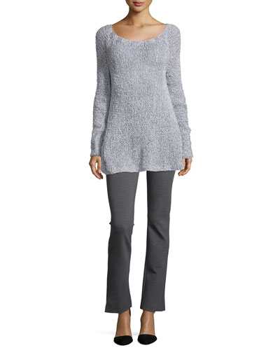 Cashmere-Blend Hand-Loomed Sweater & Melange Jersey Structured Pants