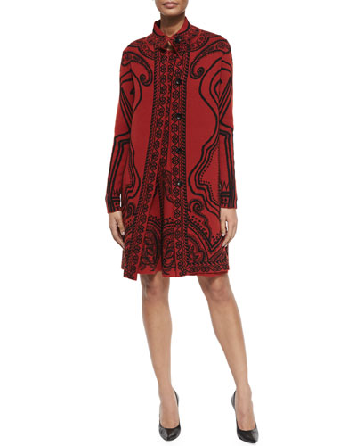 Funnel-Collar Paisley-Print Coat & A-Line Dress