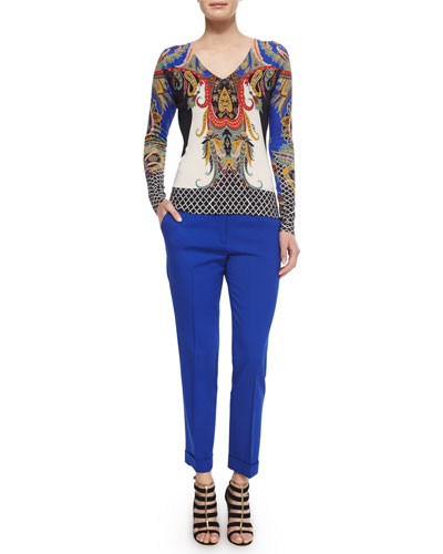 Stamp-Print Cashmere-Blend V-Neck Top & Stretch-Crepe Cuffed Capri Pants