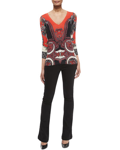 Silk-Cashmere Printed V-Neck Sweater & Lace-Up Front Denim Flared Jeans