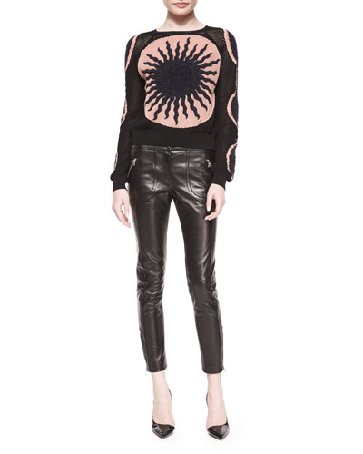 Long-Sleeve Mesh Knit Sun Sweater & Leather-Front Woven-Back Skinny Pants