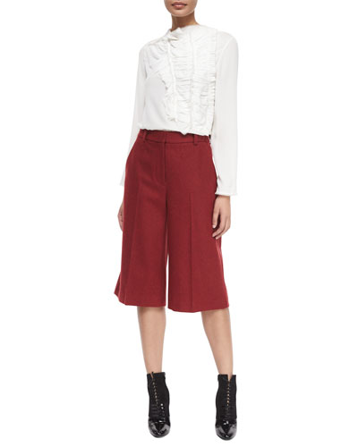 Crushed Ruffled-Front Silk Blouse & Topstitched Wool-Blend Culottes