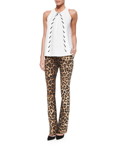 Burrow Whipstitched Crepe Top & Leopard-Print Skinny Flared Pants