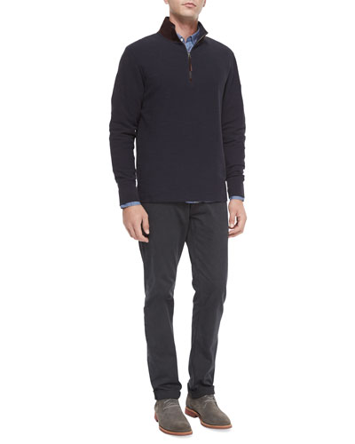 Half-Zip Knit Pullover with Suede Collar, Glen-Plaid Long-Sleeve Sport Shirt & Ashland Five-Pocket Pants