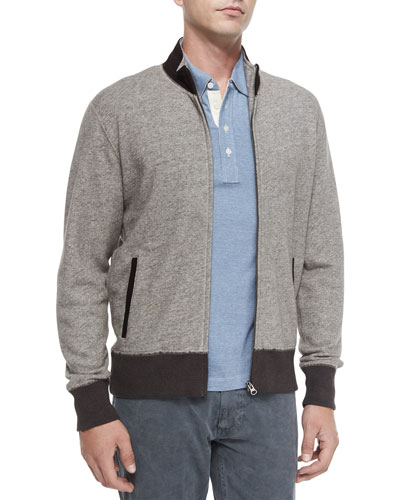 Heathered Track Jacket with Suede Collar & Pensacola Mini-Stripe Polo Shirt