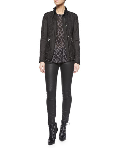 Quilted Techno Moto Jacket, Long-Sleeve Animal-Print T-Shirt & Coated Stretch Denim Jeans