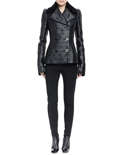 Double-Breasted Shearling Fur Collar Jacket & High-Waist Skinny-Leg Pants
