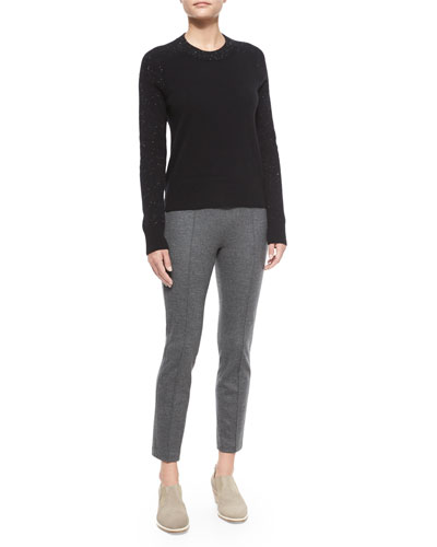 Catherine Speckled Cashmere Sweater & Polly Cropped Wool Pants
