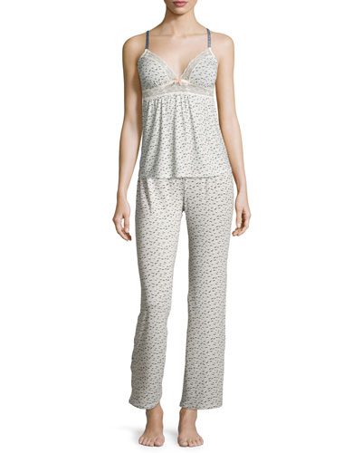 Foxxy Printed Lace-Trim Camisole & Cropped Pants