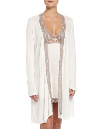 Delphine Lace-Trimmed Robe & Chemise, Mink