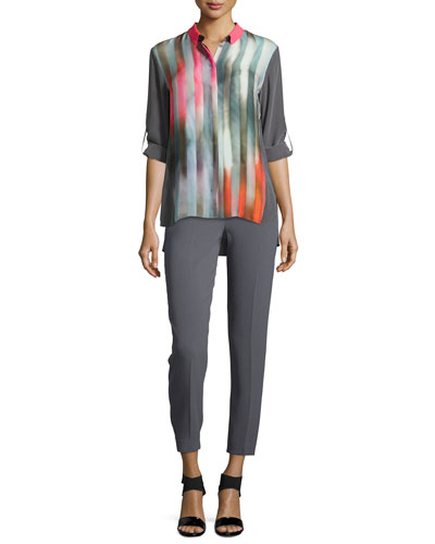 Marian Printed Silk Blouse & Marcia Slim Ankle Pants
